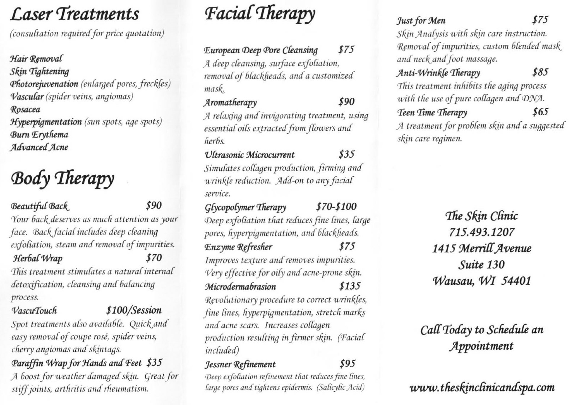 Skin Clinic Services Brochure